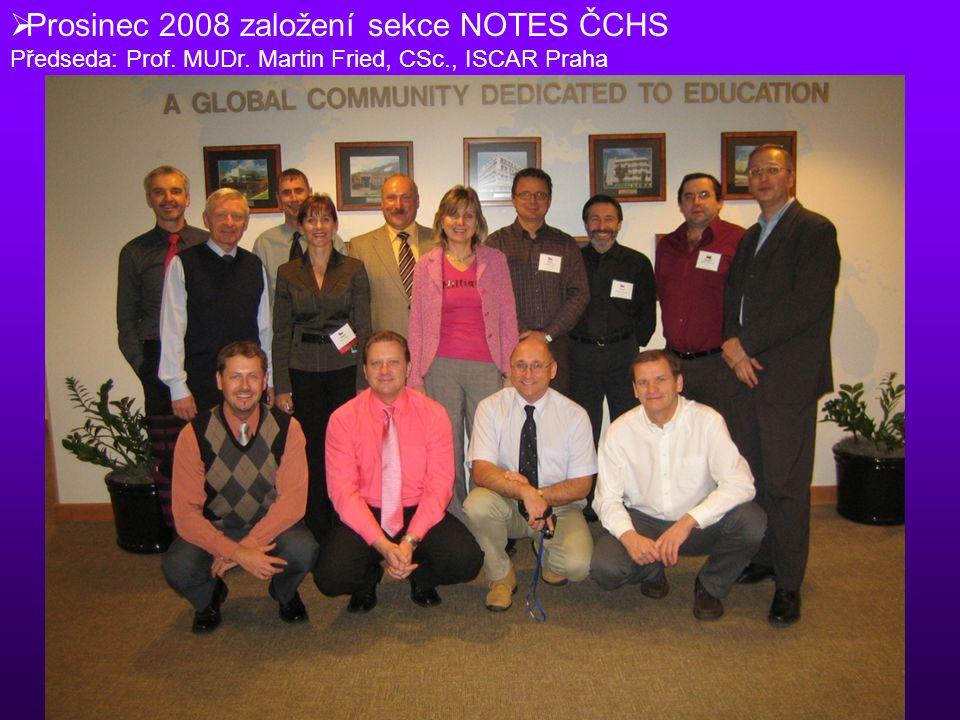  Prosinec 2008 založení sekce NOTES ČCHS Předseda: Prof. MUDr. Martin Fried, CSc., ISCAR Praha
