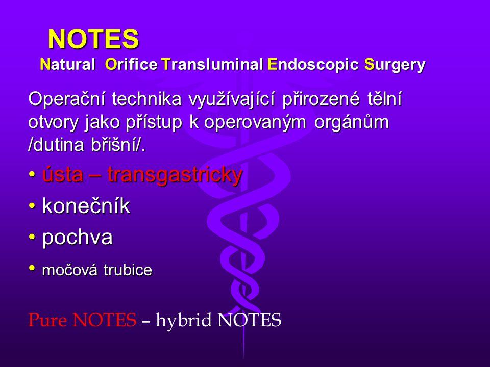 NOTES Natural Orifice Transluminal Endoscopic Surgery Miniinvazivní přístup kombinuje endoskopické metody s metodami laparoskopického operování.
