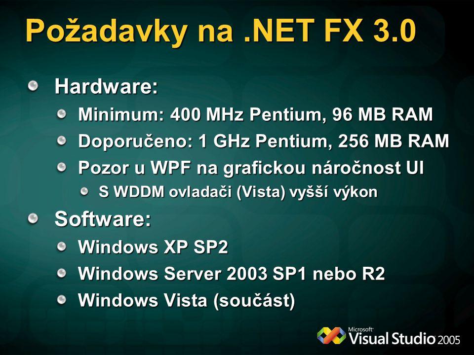 Požadavky na.NET FX 3.0 Hardware: Minimum: 400 MHz Pentium, 96 MB RAM Doporučeno: 1 GHz Pentium, 256 MB RAM Pozor u WPF na grafickou náročnost UI S WDDM ovladači (Vista) vyšší výkon Software: Windows XP SP2 Windows Server 2003 SP1 nebo R2 Windows Vista (součást)