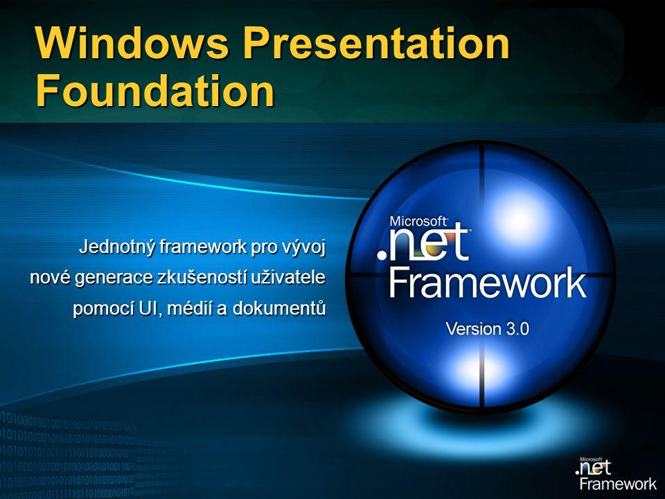 Windows Presentation Foundation Jednotný framework pro vývoj nové generace zkušeností uživatele pomocí UI, médií a dokumentů