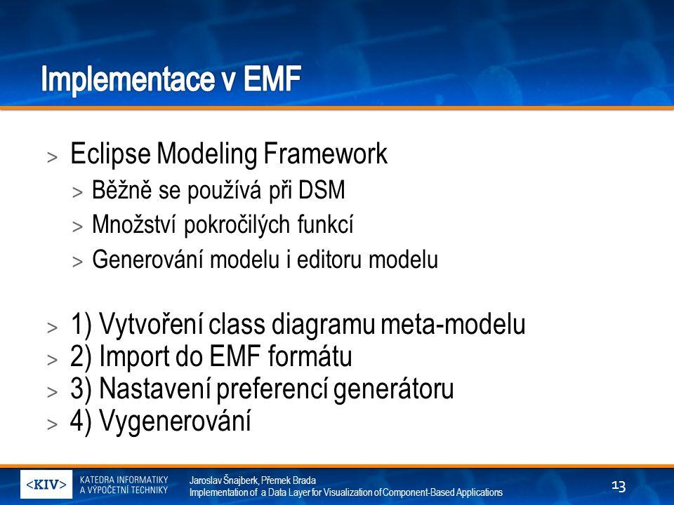 Jaroslav Šnajberk, Přemek Brada Implementation of a Data Layer for Visualization of Component-Based Applications > Eclipse Modeling Framework > Běžně se používá při DSM > Množství pokročilých funkcí > Generování modelu i editoru modelu > 1) Vytvoření class diagramu meta-modelu > 2) Import do EMF formátu > 3) Nastavení preferencí generátoru > 4) Vygenerování 13