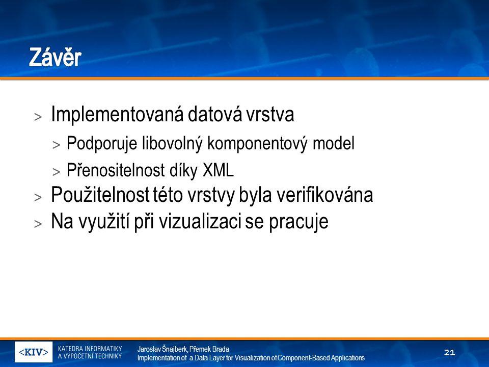 Jaroslav Šnajberk, Přemek Brada Implementation of a Data Layer for Visualization of Component-Based Applications > Implementovaná datová vrstva > Podporuje libovolný komponentový model > Přenositelnost díky XML > Použitelnost této vrstvy byla verifikována > Na využití při vizualizaci se pracuje 21
