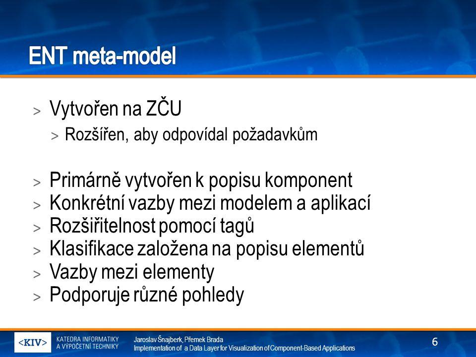 Jaroslav Šnajberk, Přemek Brada Implementation of a Data Layer for Visualization of Component-Based Applications > Vytvořen na ZČU > Rozšířen, aby odpovídal požadavkům > Primárně vytvořen k popisu komponent > Konkrétní vazby mezi modelem a aplikací > Rozšiřitelnost pomocí tagů > Klasifikace založena na popisu elementů > Vazby mezi elementy > Podporuje různé pohledy 6