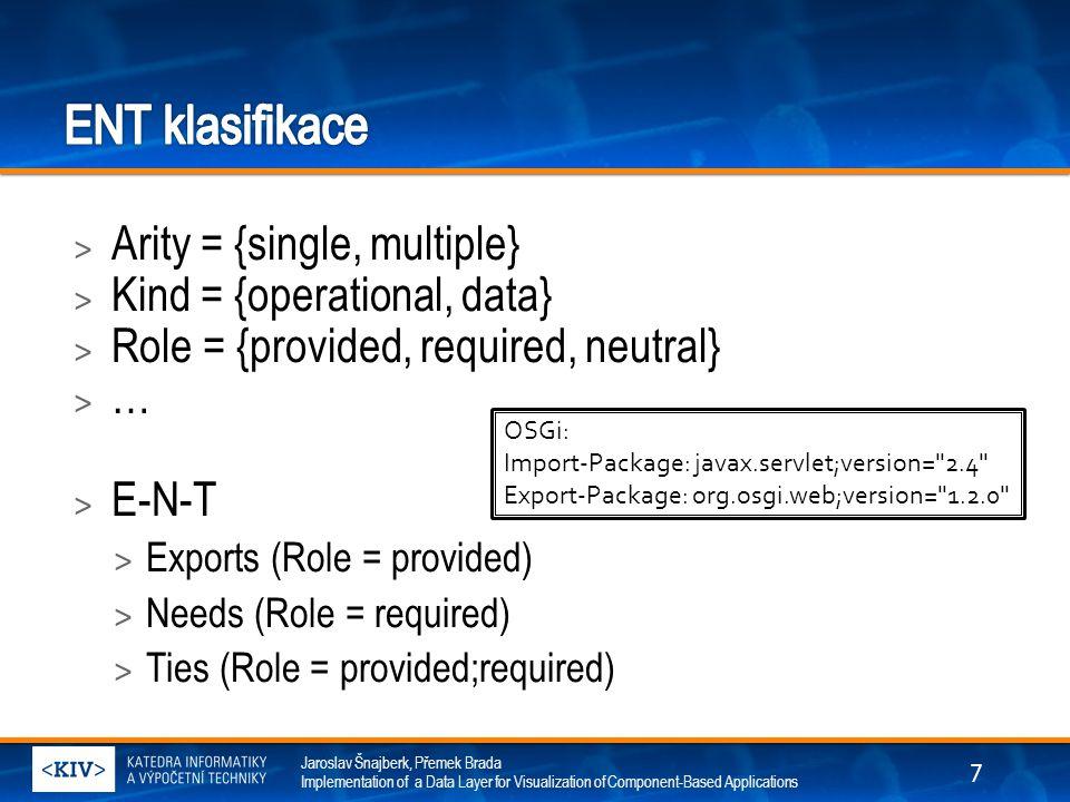 Jaroslav Šnajberk, Přemek Brada Implementation of a Data Layer for Visualization of Component-Based Applications > Arity = {single, multiple} > Kind = {operational, data} > Role = {provided, required, neutral} > … > E-N-T > Exports (Role = provided) > Needs (Role = required) > Ties (Role = provided;required) OSGi: Import-Package: javax.servlet;version= 2.4 Export-Package: org.osgi.web;version= 1.2.0 7