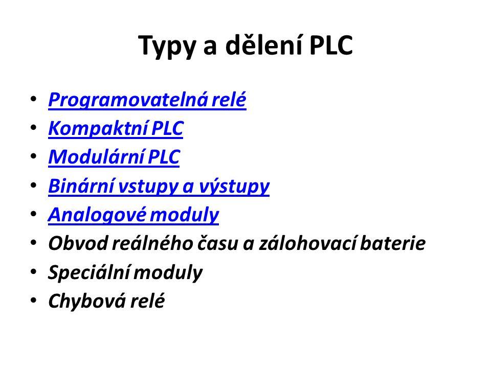 Typy a dělení PLC Programovatelná relé Kompaktní PLC Modulární PLC Binární vstupy a výstupy Analogové moduly Obvod reálného času a zálohovací baterie Speciální moduly Chybová relé