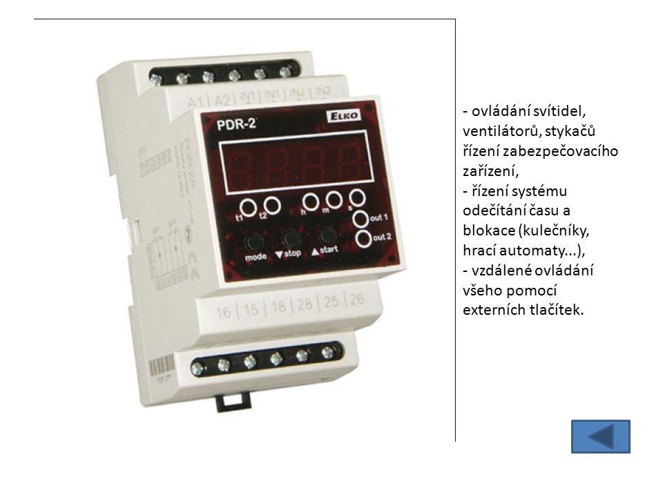 - ovládání svítidel, ventilátorů, stykačů řízení zabezpečovacího zařízení, - řízení systému odečítání času a blokace (kulečníky, hrací automaty...), - vzdálené ovládání všeho pomocí externích tlačítek.