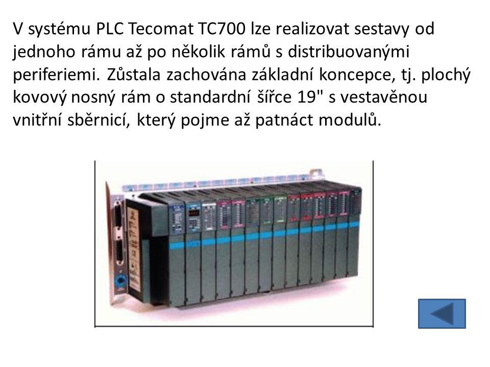 V systému PLC Tecomat TC700 lze realizovat sestavy od jednoho rámu až po několik rámů s distribuovanými periferiemi.