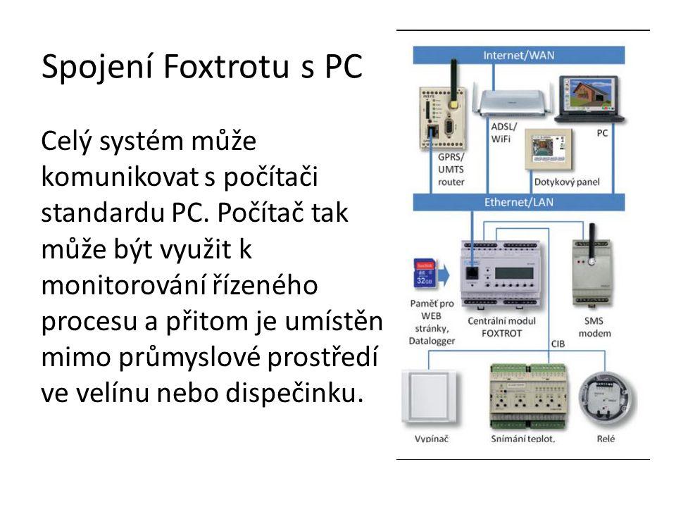 Spojení Foxtrotu s PC Celý systém může komunikovat s počítači standardu PC.