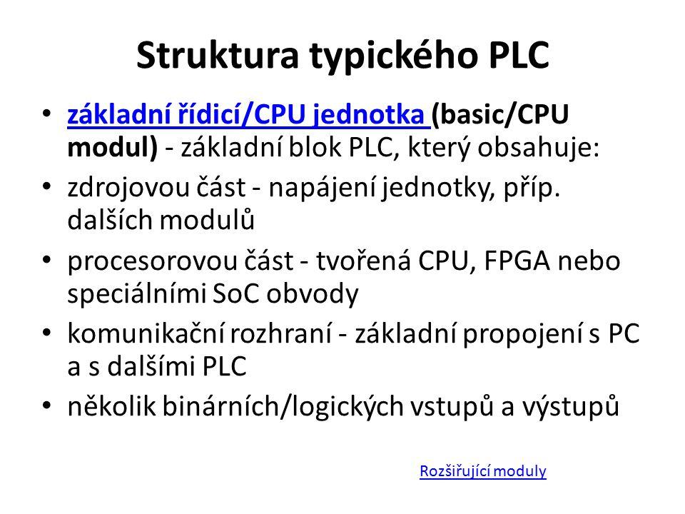 Struktura typického PLC základní řídicí/CPU jednotka (basic/CPU modul) - základní blok PLC, který obsahuje: základní řídicí/CPU jednotka zdrojovou část - napájení jednotky, příp.