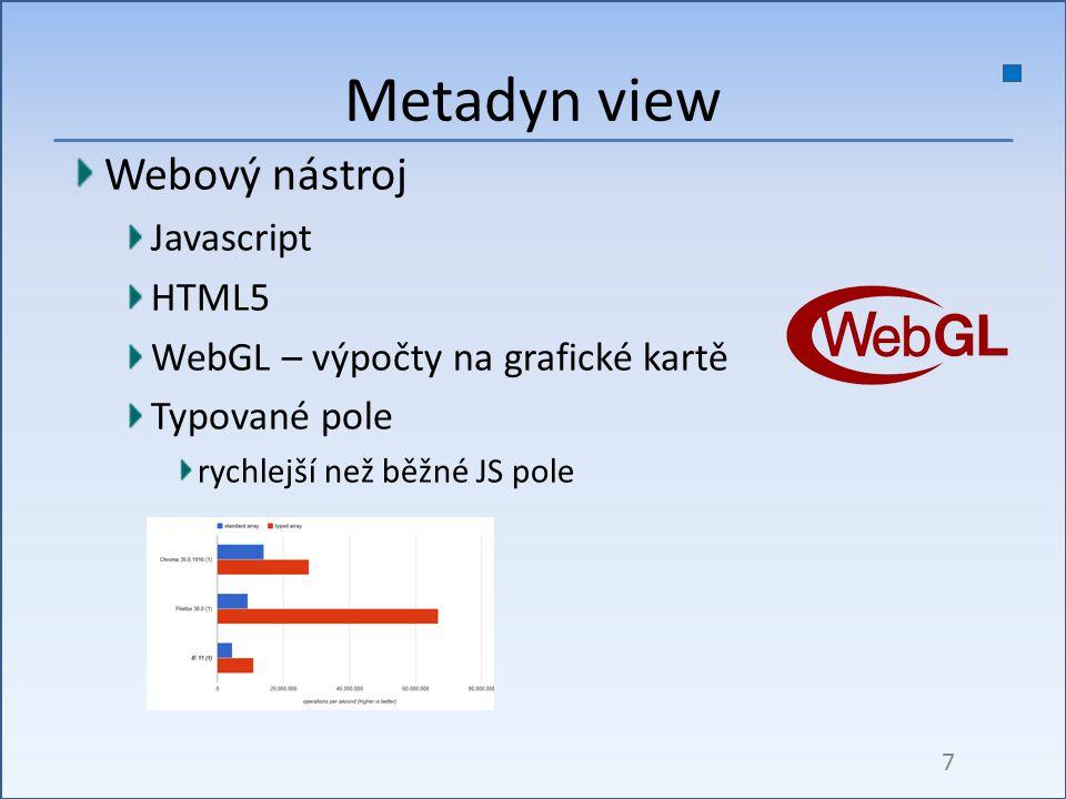 Webový nástroj Javascript HTML5 WebGL – výpočty na grafické kartě Typované pole rychlejší než běžné JS pole Metadyn view 7