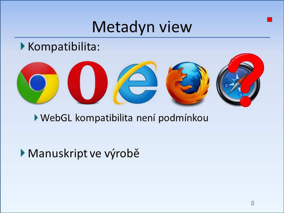 Kompatibilita: WebGL kompatibilita není podmínkou Manuskript ve výrobě Metadyn view 8