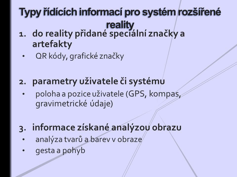 1.do reality přidané speciální značky a artefakty QR kódy, grafické značky 2.