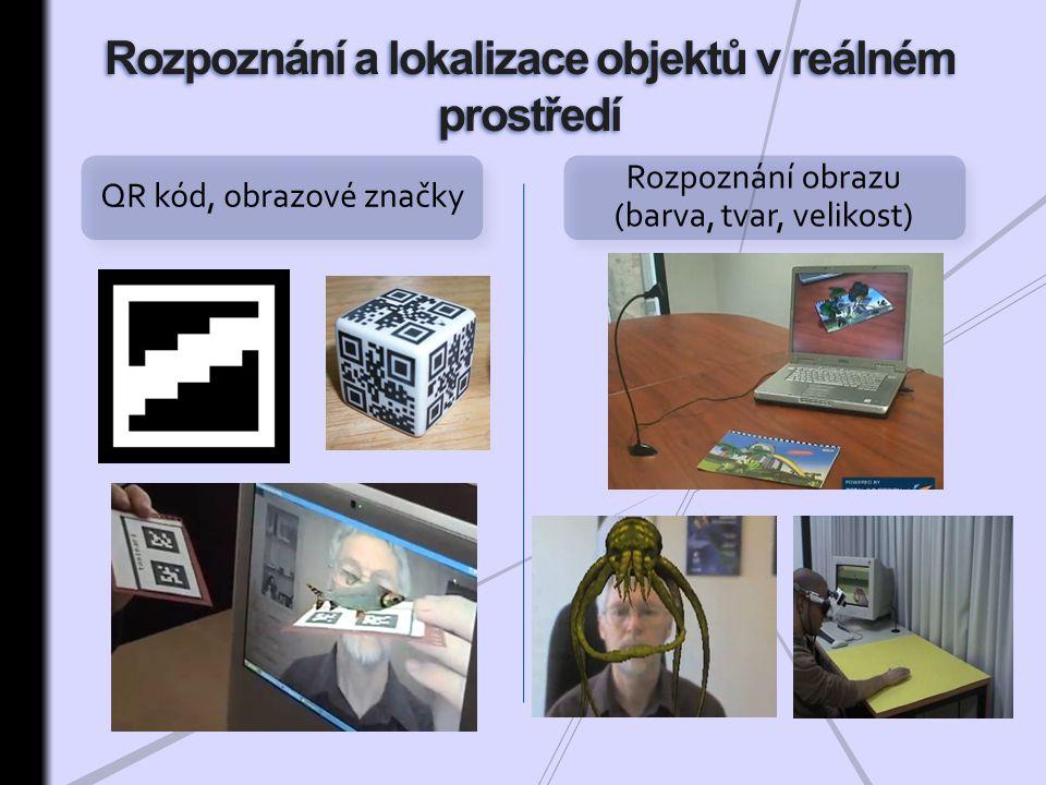 QR kód, obrazové značky Rozpoznání obrazu (barva, tvar, velikost)