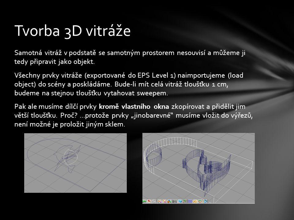 """Dílčí prvky vitráže pak vyřízneme (zmíněnou """"silnější kopií) ze základního okna vhodně obarvíme (použijeme sklo různých barev) spojíme do skupiny (ne sloučíme!) a uložíme jako objekt (Save Object) Tvorba 3D vitráže – 2"""