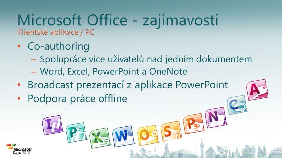 Microsoft Office - zajímavosti Co-authoring – Spolupráce více uživatelů nad jedním dokumentem – Word, Excel, PowerPoint a OneNote Broadcast prezentací