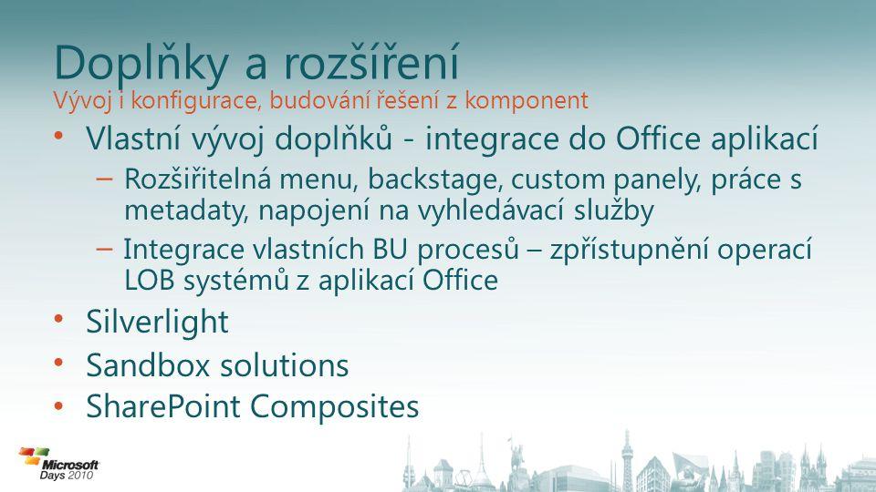 Doplňky a rozšíření Vlastní vývoj doplňků - integrace do Office aplikací – Rozšiřitelná menu, backstage, custom panely, práce s metadaty, napojení na