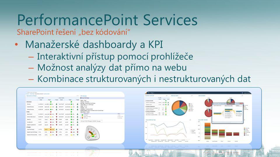PerformancePoint Services Manažerské dashboardy a KPI – Interaktivní přístup pomocí prohlížeče – Možnost analýzy dat přímo na webu – Kombinace struktu