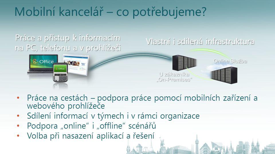 Vlastní i sdílená infrastruktura Práce a přístup k informacím na PC, telefonu a v prohlížeči Mobilní kancelář – co potřebujeme? Práce na cestách – pod