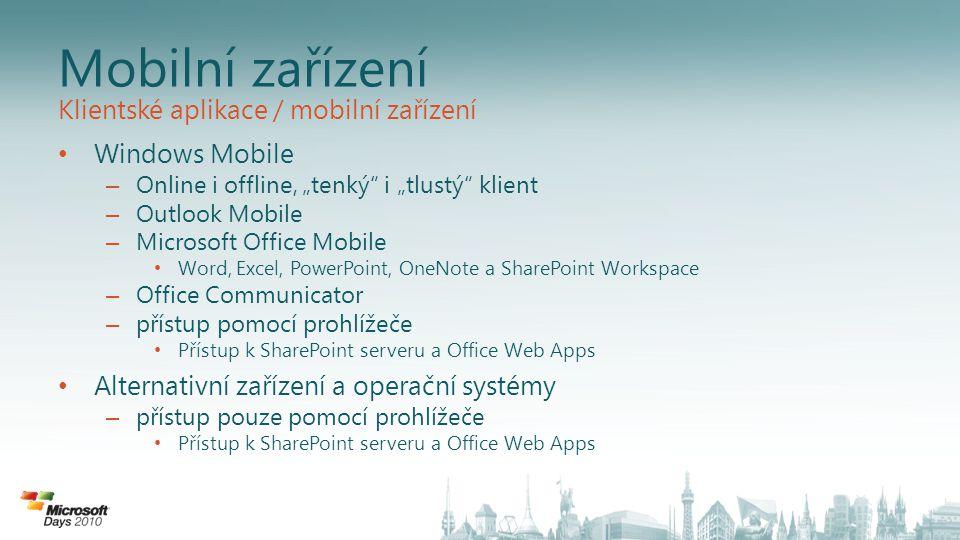 """Outlook Mobile Synchronizace Outlooku v režimu """"Direct Push E-maily, kalendář, kontakty i úkoly neustále aktuální Kalendář Vylepšená práce se schůzkami – předávání událostí Vyhledávání informací Kontakty na serveru Starší e-maily na serveru Přístup k dokumentům na Sharepoint portálu Snazší práce mimo kancelář Vlaječky pro další zpracování emailů Automatická odpověď během nepřítomnosti Podpora emailů s IRM (řízení oprávnění k přístupu) Vysoká úroveň zabezpečení Lokální i vzdálené vymazání dat Šifrování dat i na SD kartě, vzdálené vymazání dat na SD kartě Možnost vynucení komplexních hesel, historie, doby expirace hesel Aktualizace operačního systému Vylepšená podpora implementace AES Podpora PFX a wildcard (*.domena.cz) certifikátů Podpora IRM (Information Rights Management) – chráněných e- mailů Exchange Server 2010 navíc přidává Synchronizace SMS zpráv: umožňuje číst a odpovídat na SMS zprávy v Office Outlooku nebo pomocí Outlook Web Access Přístup, synchronizace a archivace SMS zpráv Třídění e-mailových zpráv dle konverzací Free/busy náhled Voicemail a e-mail v jednom rozhraní Náhled na voicemail: převádí hlasovou zprávu na text Přímé přehrávání hlasové zprávy Outlook Mobile Rychlé zadávání e-mail aliasů při tvorbě nové zprávy (nápověda) Vizuální identifikace odpovězených a přeposlaných zpráv Klientské aplikace / mobilní zařízení"""