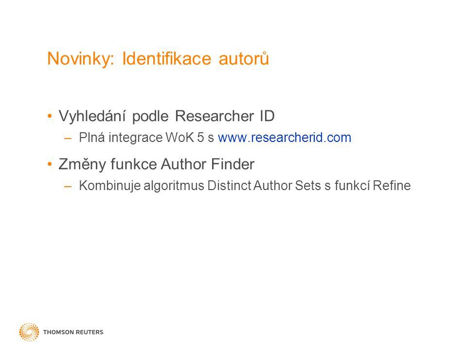 Novinky: Identifikace autorů Vyhledání podle Researcher ID –Plná integrace WoK 5 s www.researcherid.com Změny funkce Author Finder –Kombinuje algoritmus Distinct Author Sets s funkcí Refine