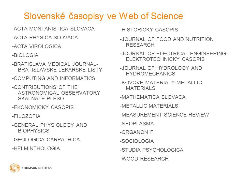 Web of Knowledge 5 Výzkum podporovaný rozšířeným Citation Universe