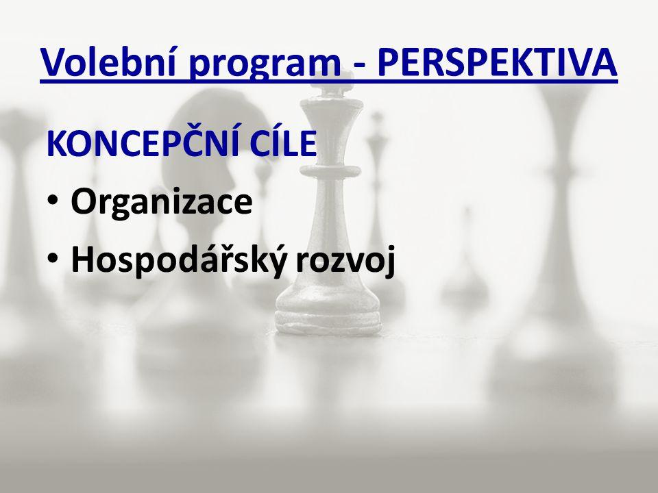 Volební program - PERSPEKTIVA KONCEPČNÍ CÍLE Organizace Hospodářský rozvoj