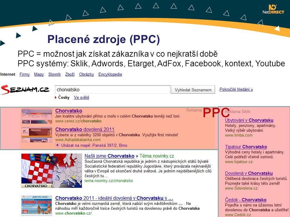 PPC = možnost jak získat zákazníka v co nejkratší době PPC systémy: Sklik, Adwords, Etarget, AdFox, Facebook, kontext, Youtube Placené zdroje (PPC) PP