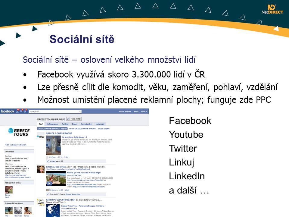 Sociální sítě Sociální sítě = oslovení velkého množství lidí Facebook využívá skoro 3.300.000 lidí v ČR Lze přesně cílit dle komodit, věku, zaměření,