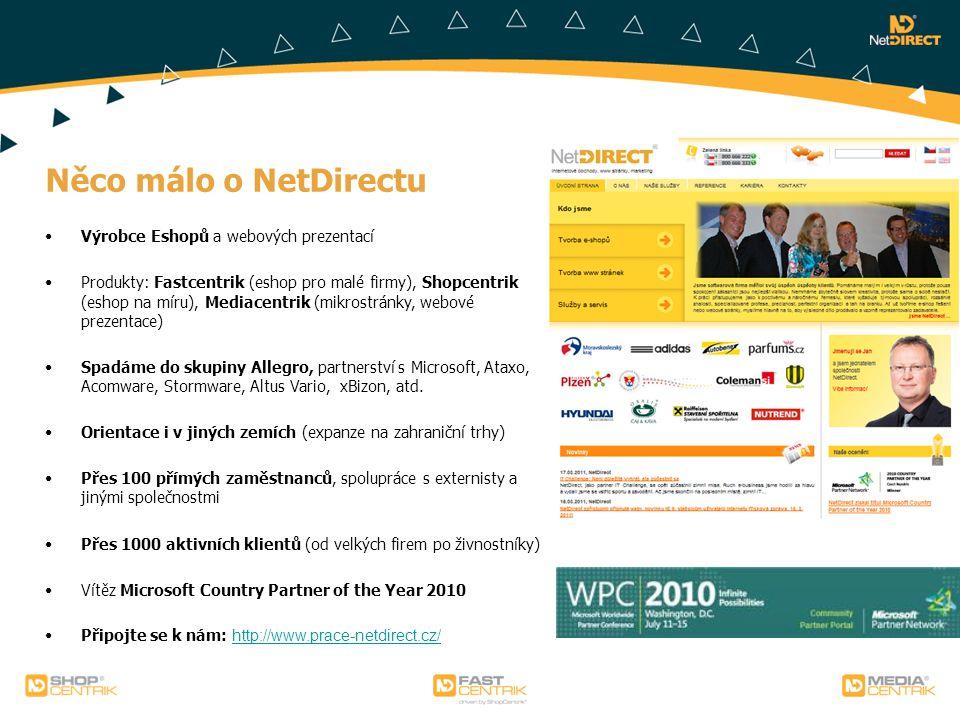 Něco málo o NetDirectu Výrobce Eshopů a webových prezentací Produkty: Fastcentrik (eshop pro malé firmy), Shopcentrik (eshop na míru), Mediacentrik (m
