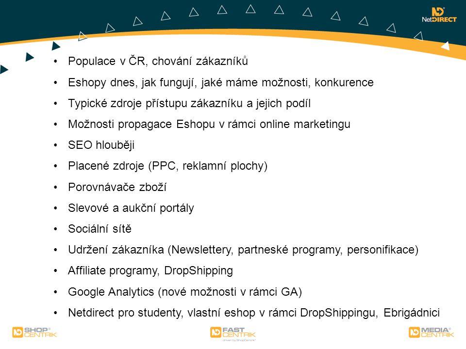 Něco málo o NetDirectu Výrobce Eshopů a webových prezentací Produkty: Fastcentrik (eshop pro malé firmy), Shopcentrik (eshop na míru), Mediacentrik (mikrostránky, webové prezentace) Spadáme do skupiny Allegro, partnerství s Microsoft, Ataxo, Acomware, Stormware, Altus Vario, xBizon, atd.