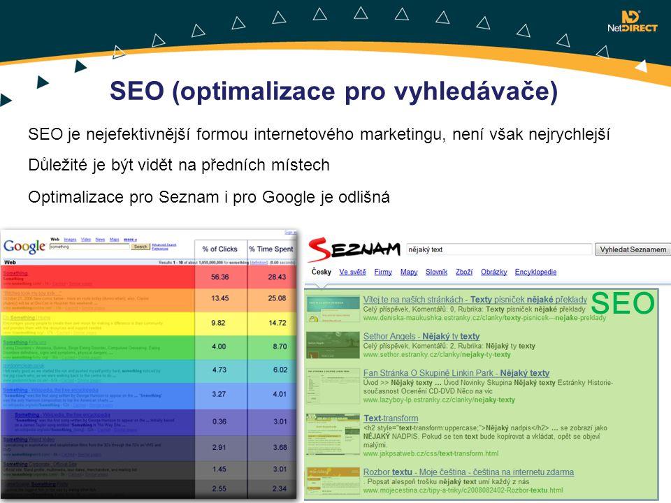 SEO je nejefektivnější formou internetového marketingu, není však nejrychlejší Důležité je být vidět na předních místech Optimalizace pro Seznam i pro