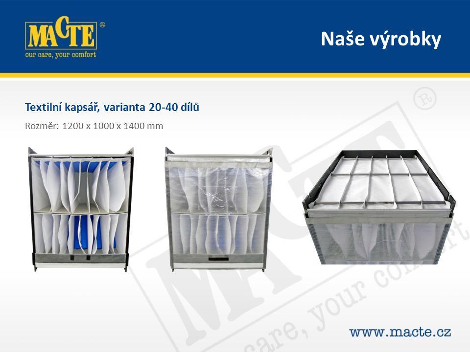 Textilní kapsář, varianta 20-40 dílů Rozměr: 1200 x 1000 x 1400 mm Naše výrobky