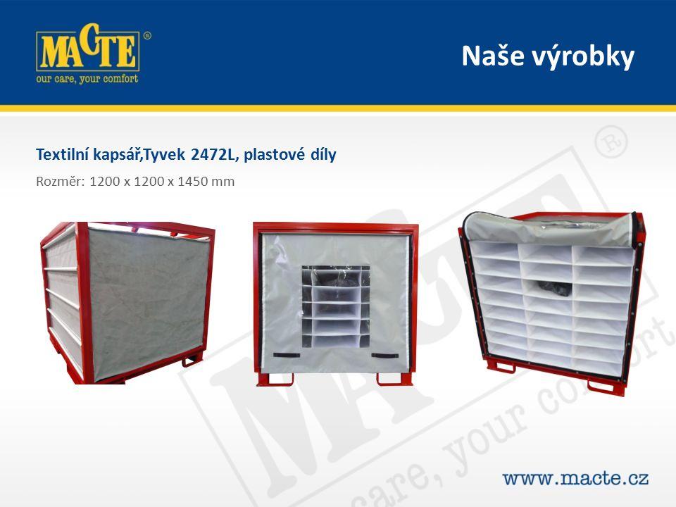 Textilní kapsář,Tyvek 2472L, plastové díly Rozměr: 1200 x 1200 x 1450 mm Naše výrobky