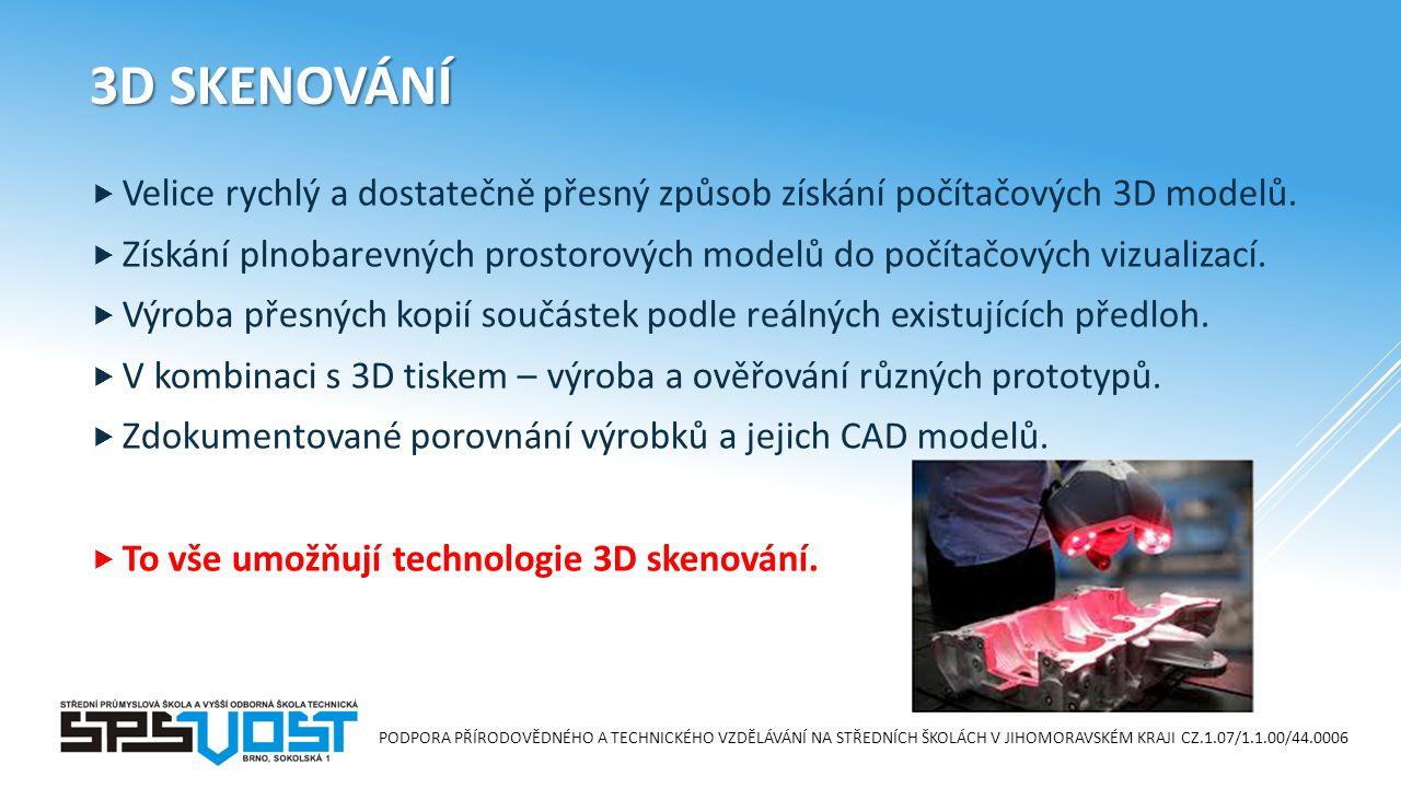 PODPORA PŘÍRODOVĚDNÉHO A TECHNICKÉHO VZDĚLÁVÁNÍ NA STŘEDNÍCH ŠKOLÁCH V JIHOMORAVSKÉM KRAJI CZ.1.07/1.1.00/44.0006 3D SKENOVÁNÍ  Velice rychlý a dostatečně přesný způsob získání počítačových 3D modelů.