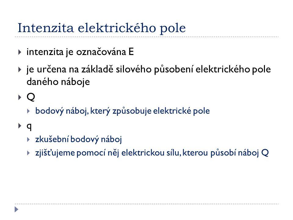 Intenzita elektrického pole  intenzita je označována E  je určena na základě silového působení elektrického pole daného náboje QQ  bodový náboj, který způsobuje elektrické pole qq  zkušební bodový náboj  zjišťujeme pomocí něj elektrickou sílu, kterou působí náboj Q