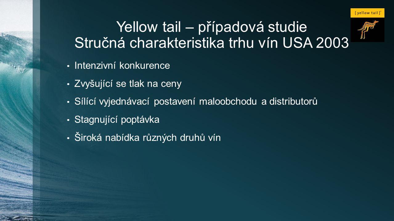 Yellow tail – případová studie Stručná charakteristika trhu vín USA 2003 Intenzivní konkurence Zvyšující se tlak na ceny Sílící vyjednávací postavení