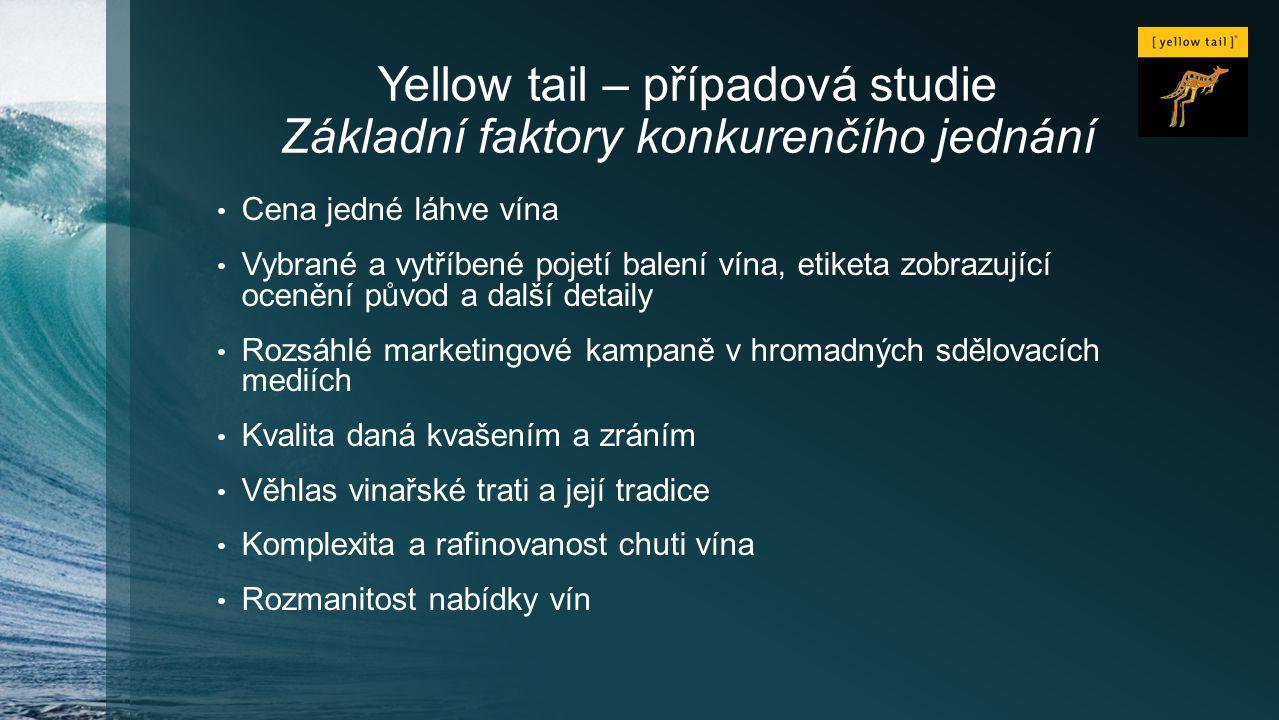 Yellow tail – případová studie Základní faktory konkurenčího jednání Cena jedné láhve vína Vybrané a vytříbené pojetí balení vína, etiketa zobrazující