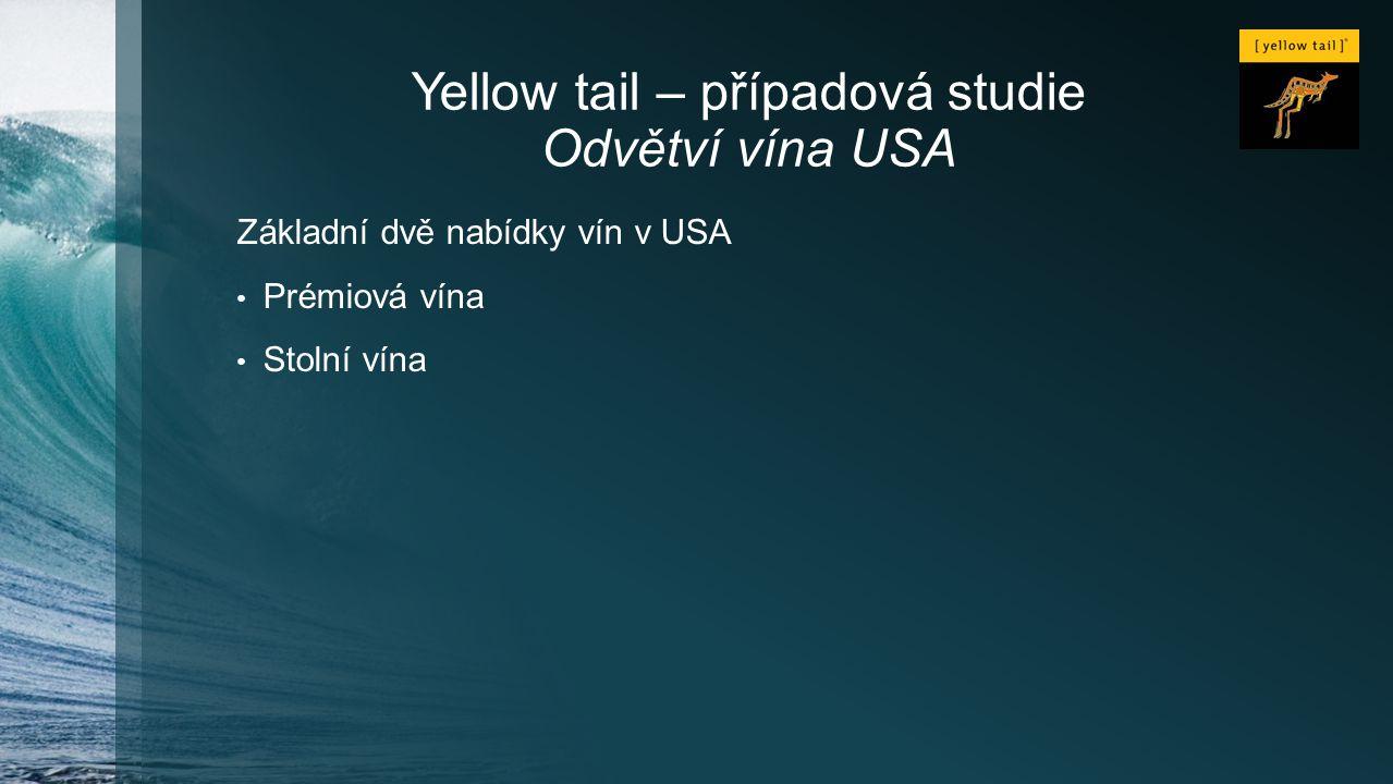 Yellow tail – případová studie Odvětví vína USA Základní dvě nabídky vín v USA Prémiová vína Stolní vína