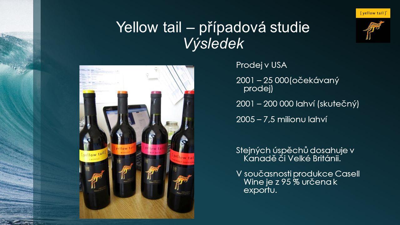 Yellow tail – případová studie Výsledek Prodej v USA 2001 – 25 000(očekávaný prodej) 2001 – 200 000 lahví (skutečný) 2005 – 7,5 milionu lahví Stejných