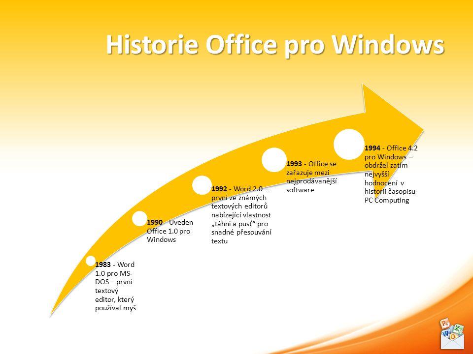 """Historie Office pro Windows 1983 - Word 1.0 pro MS- DOS – první textový editor, který používal myš 1990 - Uveden Office 1.0 pro Windows 1992 - Word 2.0 – první ze známých textových editorů nabízející vlastnost """"táhni a pusť pro snadné přesouvání textu 1993 - Office se zařazuje mezi nejprodávanější software 1994 - Office 4.2 pro Windows – obdržel zatím nejvyšší hodnocení v historii časopisu PC Computing"""
