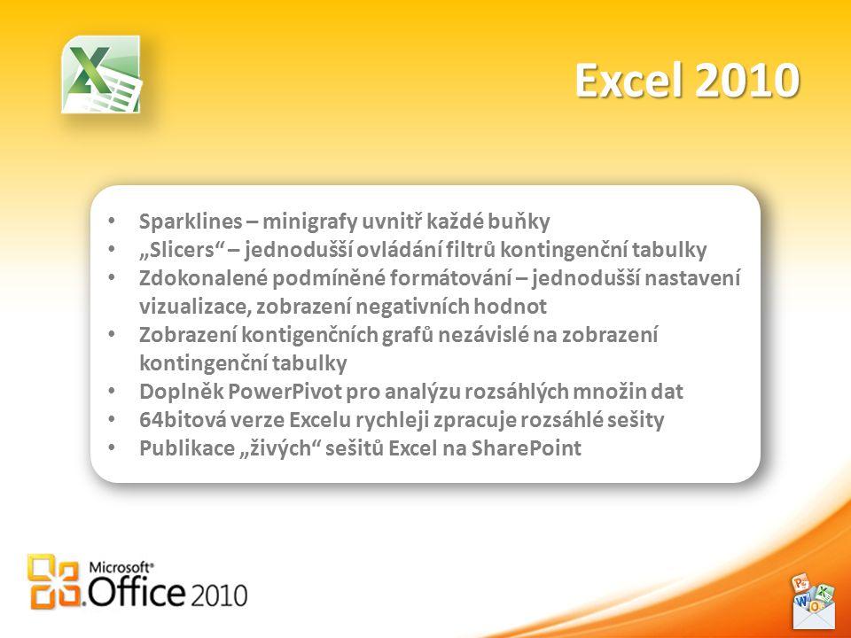 """Excel 2010 Sparklines – minigrafy uvnitř každé buňky """"Slicers – jednodušší ovládání filtrů kontingenční tabulky Zdokonalené podmíněné formátování – jednodušší nastavení vizualizace, zobrazení negativních hodnot Zobrazení kontigenčních grafů nezávislé na zobrazení kontingenční tabulky Doplněk PowerPivot pro analýzu rozsáhlých množin dat 64bitová verze Excelu rychleji zpracuje rozsáhlé sešity Publikace """"živých sešitů Excel na SharePoint"""