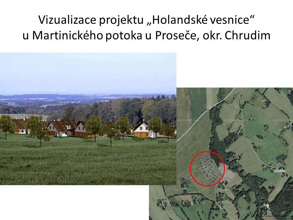 """Vizualizace projektu """"Holandské vesnice"""" u Martinického potoka u Proseče, okr. Chrudim"""