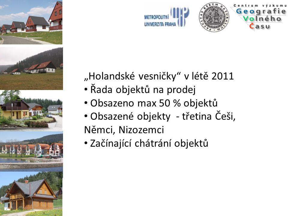 """""""Holandské vesničky"""" v létě 2011 Řada objektů na prodej Obsazeno max 50 % objektů Obsazené objekty - třetina Češi, Němci, Nizozemci Začínající chátrán"""