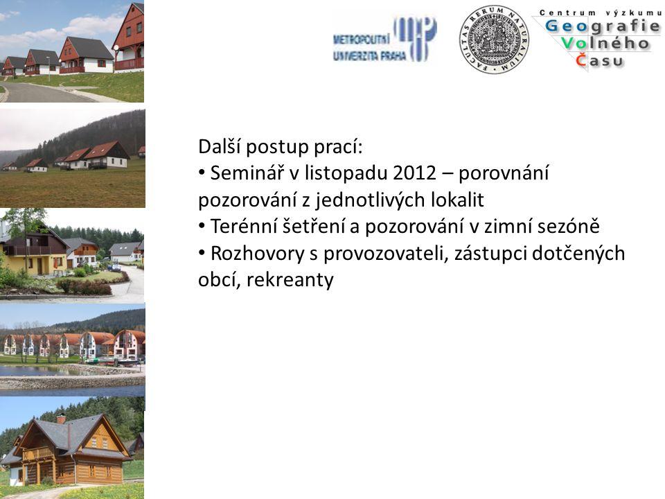 Další postup prací: Seminář v listopadu 2012 – porovnání pozorování z jednotlivých lokalit Terénní šetření a pozorování v zimní sezóně Rozhovory s pro
