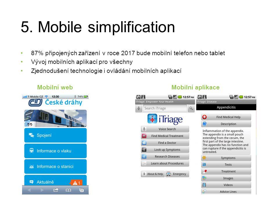 5. Mobile simplification 87% připojených zařízení v roce 2017 bude mobilní telefon nebo tablet Vývoj mobilních aplikací pro všechny Zjednodušení techn