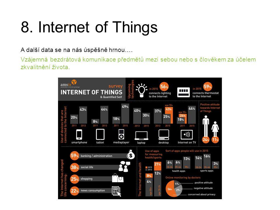 8. Internet of Things A další data se na nás úspěšně hrnou…. Vzájemná bezdrátová komunikace předmětů mezi sebou nebo s člověkem za účelem zkvalitnění