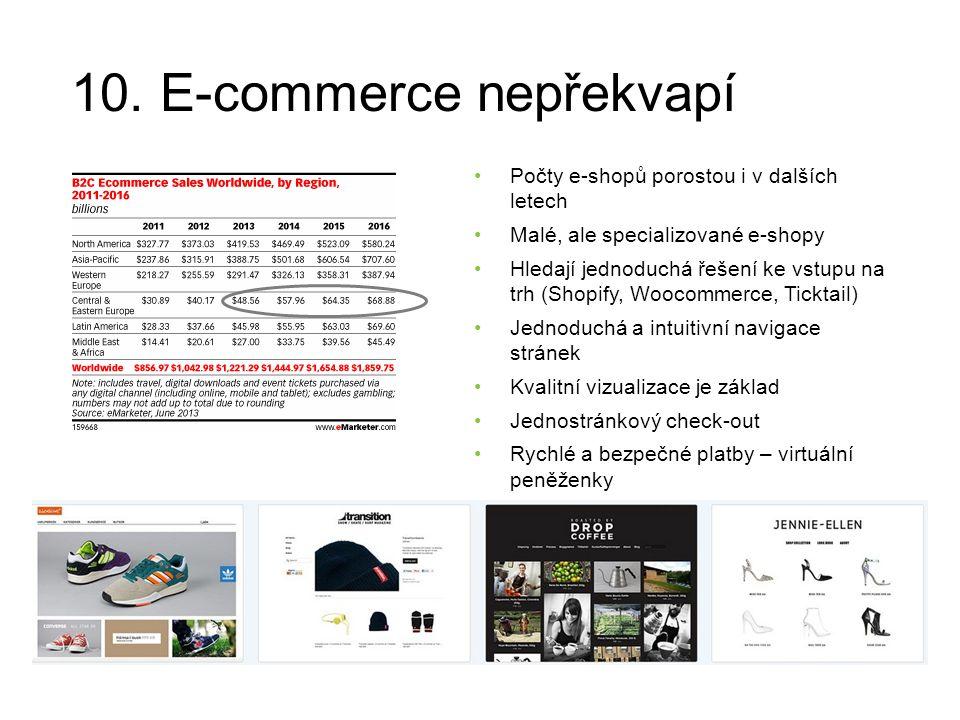 10. E-commerce nepřekvapí Počty e-shopů porostou i v dalších letech Malé, ale specializované e-shopy Hledají jednoduchá řešení ke vstupu na trh (Shopi