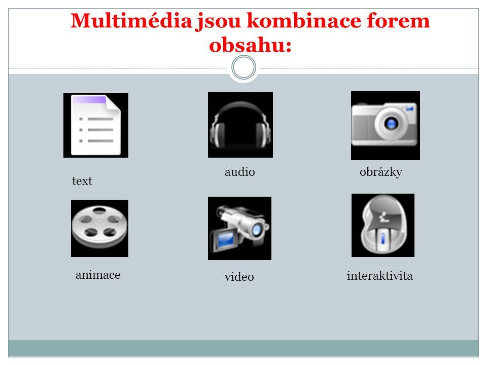 Multimédia jsou kombinace forem obsahu: text audioobrázky animace video interaktivita