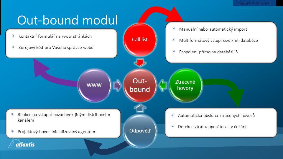 Copyright © 2011, atlantis Out- bound Call list Ztracené hovory OdpověďWWW Out-bound modul Kontaktní formulář na www stránkách Zdrojový kód pro Vašeho správce webu Manuální nebo automatický import Multiformátový vstup: csv, xml, databáze Propojení přímo na databázi IS Automatická obsluha ztracených hovorů Detekce ztrát u operátora i v čekání Reakce na vstupní požadavek jiným distribučním kanálem Projektový hovor inicializovaný agentem
