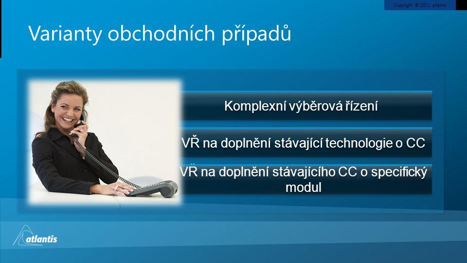 Copyright © 2011, atlantis Varianty obchodních případů Komplexní výběrová řízení VŘ na doplnění stávající technologie o CC VŘ na doplnění stávajícího CC o specifický modul